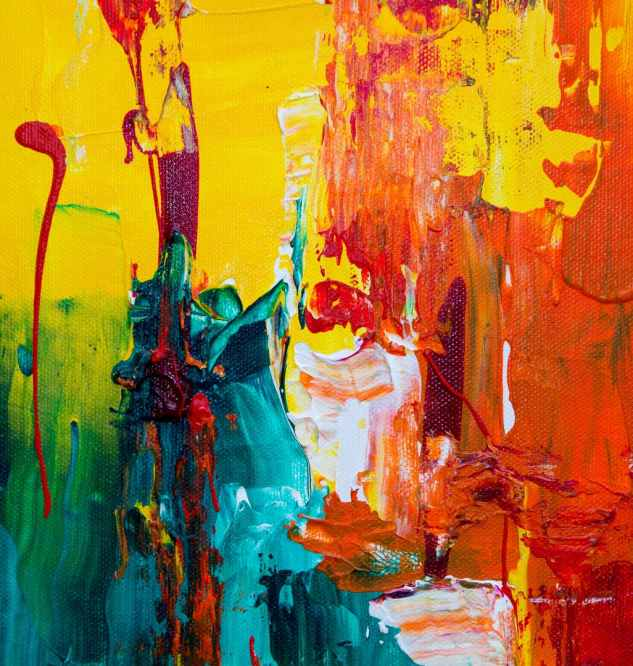 orange red and green abstract painting
