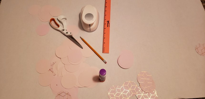 Array of materials needed to make your own scallop wall art.
