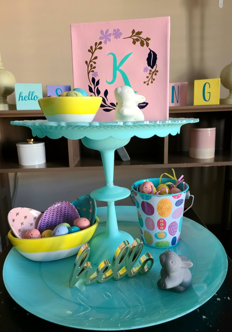 DIY two-tier tray styled with spring items.