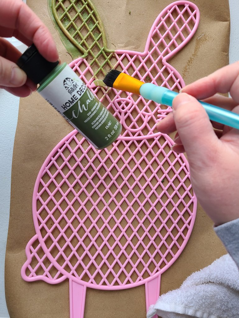 Prep the moss covered bunny by painting it in sage green chalk paint.