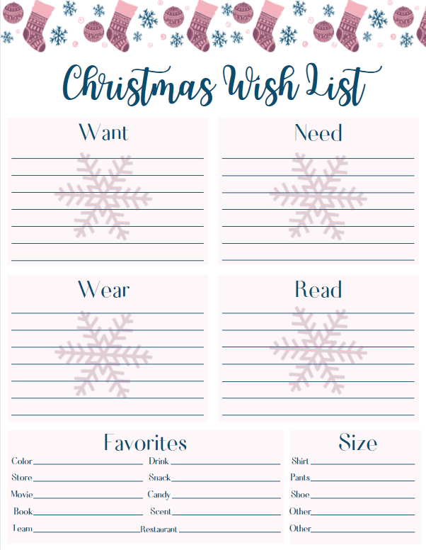 Free printable Christmas wish list in blue, pink, and mauve, with snowflakes.