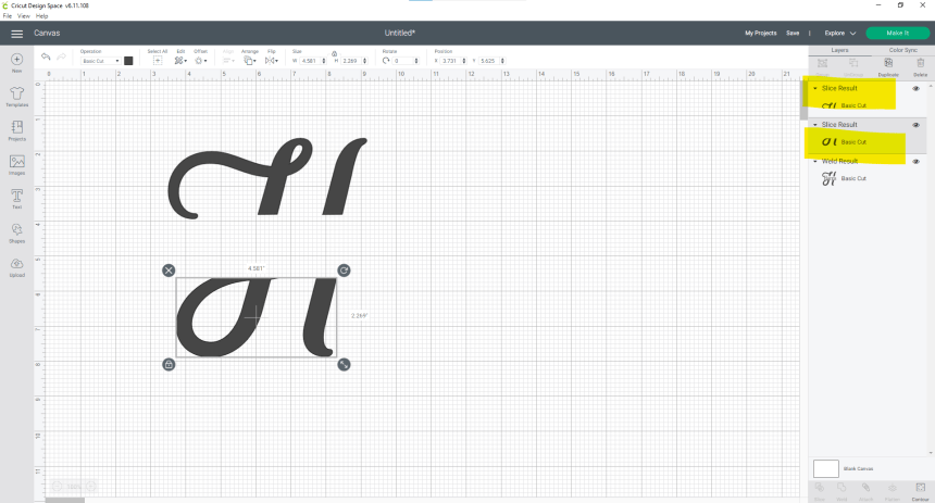 Two separate pieces of the split letter monogram with each piece highlighted in right side task bar in Design Space screenshot.