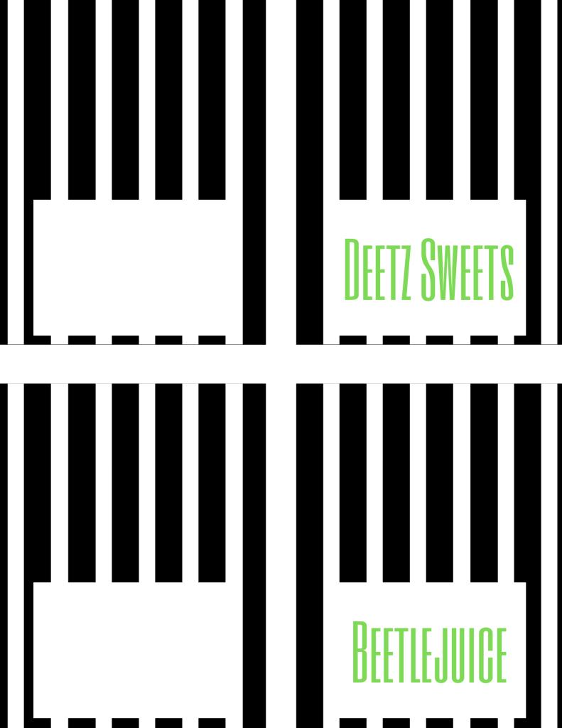 "Beetlejuice free printables: food tent cards, one ""Beetlejuice,"" one ""Deetz sweets,"" and two blank."