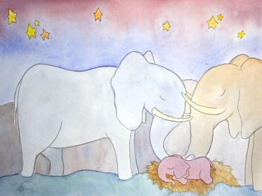 Sleepy Safari, Elephants (Sold)