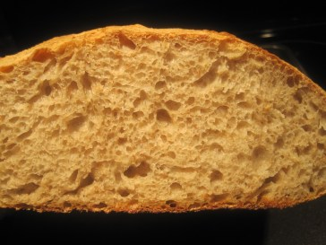 look at this - is it not wonderful? all the air bubbles and the fine structure. I am so excited and happy my friends - please give baking bread a try. It has been such an interesting and exciting journey for me that I wish it to everyone.