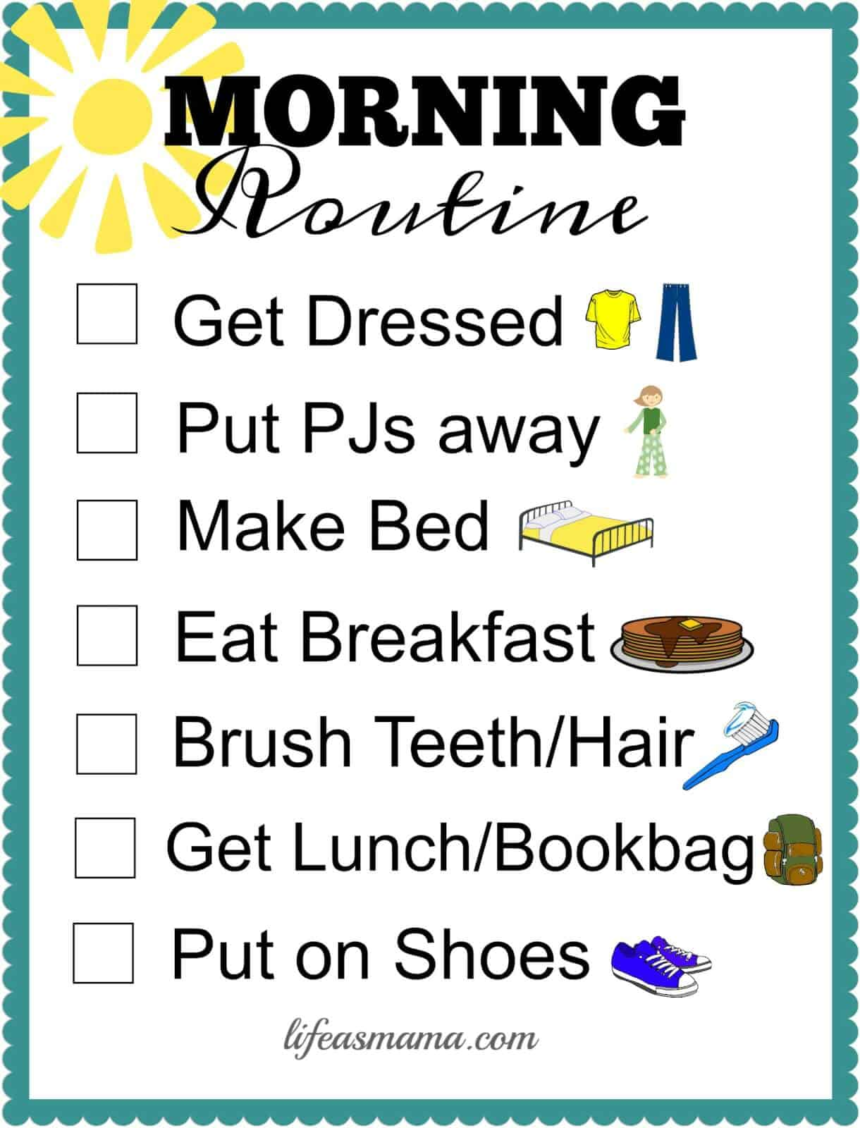 Free Printable School Routine Checklists