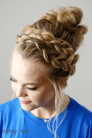 6 braided top knots give