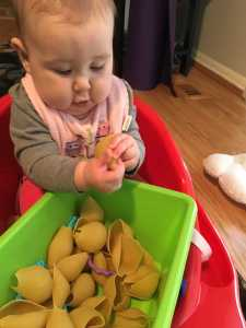 Activities for your 6 month old: Sensory Pasta Tub