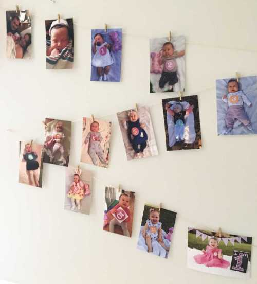 First Birthday Party Monthly Photo Display