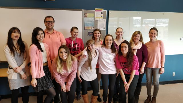 Bachelor of Education students at Thompson Rivers University take a stand against bullying by participating in Pink Shirt Day 2019.