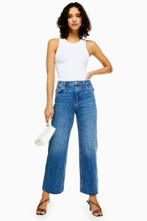 Mid Blue Raw Hem Crop Jeans