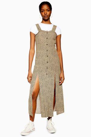 Spot Split Midi Dress