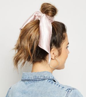 Pink Satin Bow Scrunchie