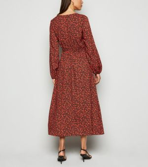 Red Ditsy Floral Midi Dress