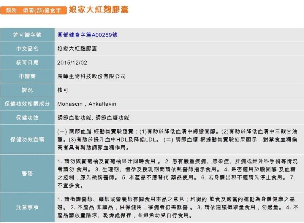 衛生福利部審核通過之健康食品資料查詢_【娘家】大紅麴