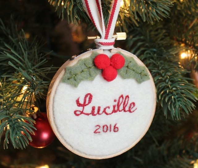 Hand Stitched Babys First Christmas Ornament