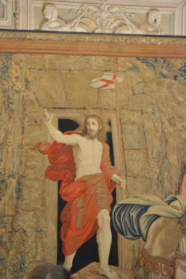 The painting of the Lord on a tapestry- done in a way in which it appears to watch you as you are moving