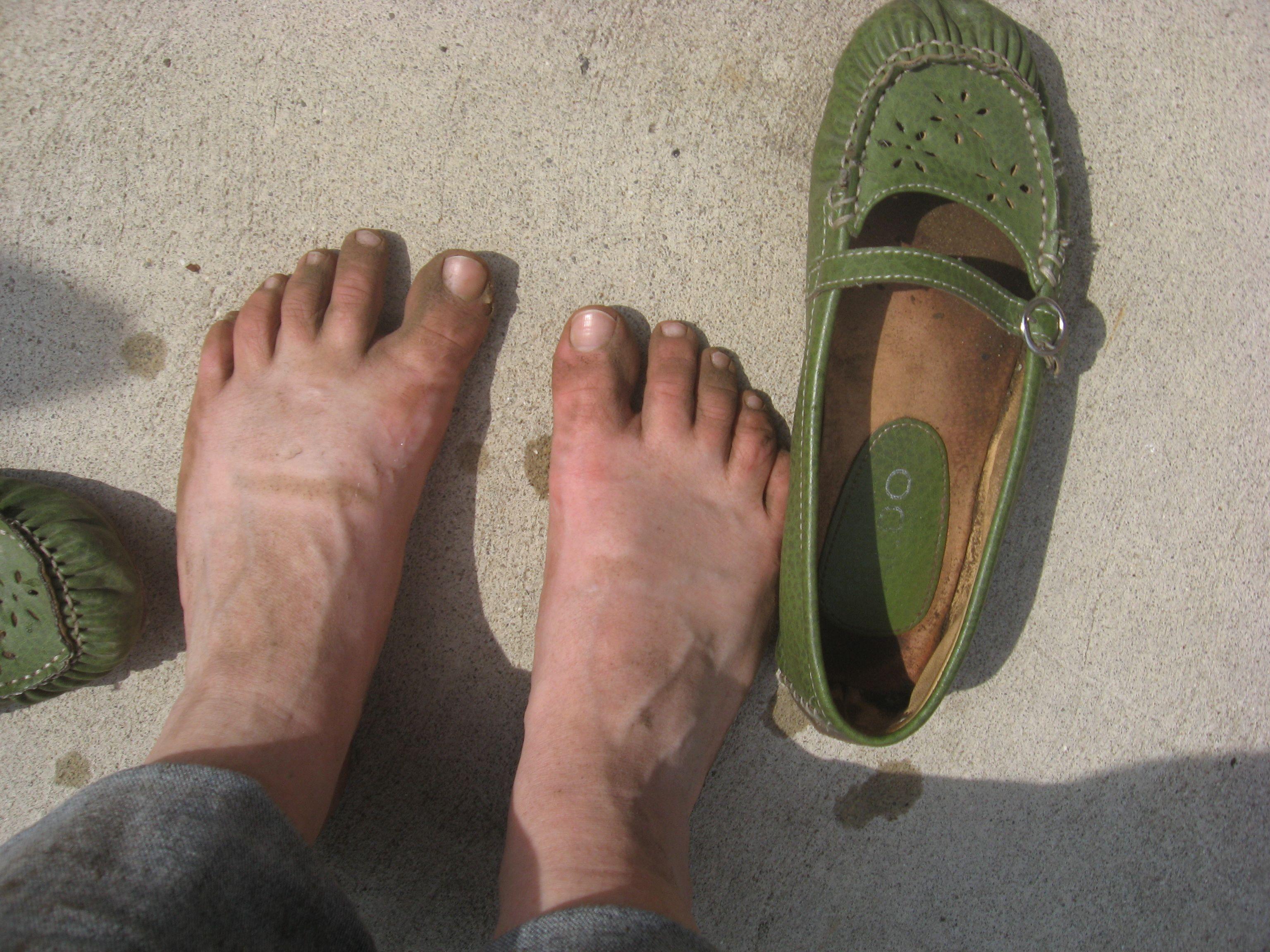 My feet, post planting.