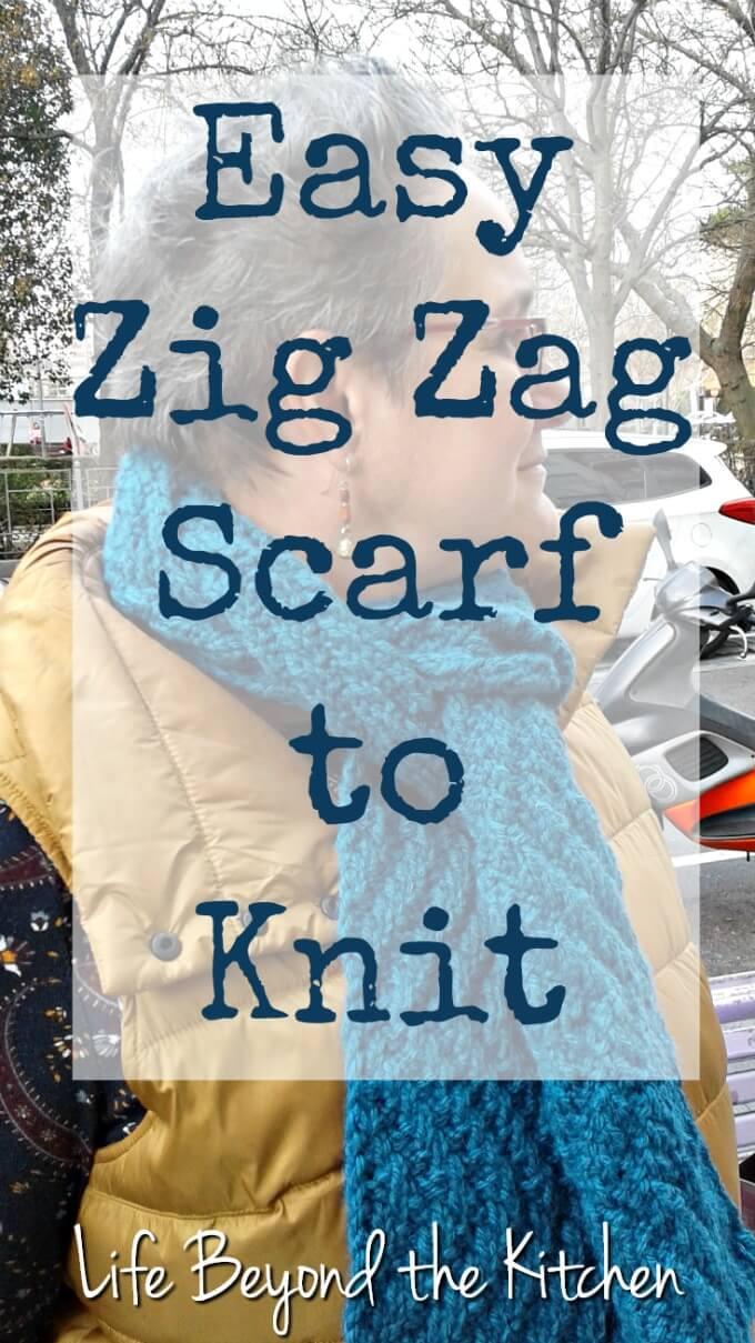 Easy Zig Zag Scarf to Knit ~ #CraftRoomDestashChallenge ~ Life Beyond the Kitchen