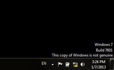 pesan di desktop Windows 7 build 7601 This copy of windows is not genuine