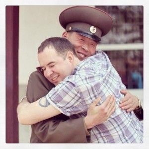 DMZ Northern Commander and former American commander, Michael Bassett, hug during the April 2013 Period of Brinksmanship. (Photo credit Joseph Ferris)