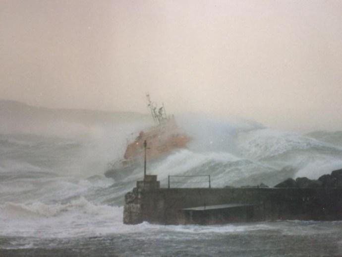 Portrush Lifeboat, RNLB Richard Evans, 13th February 1989, photograph by Iain Watson