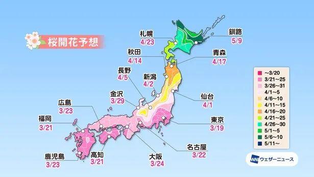 2021年第一波日本櫻花預測時間