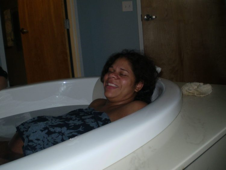 Mom in the tub - Happy!