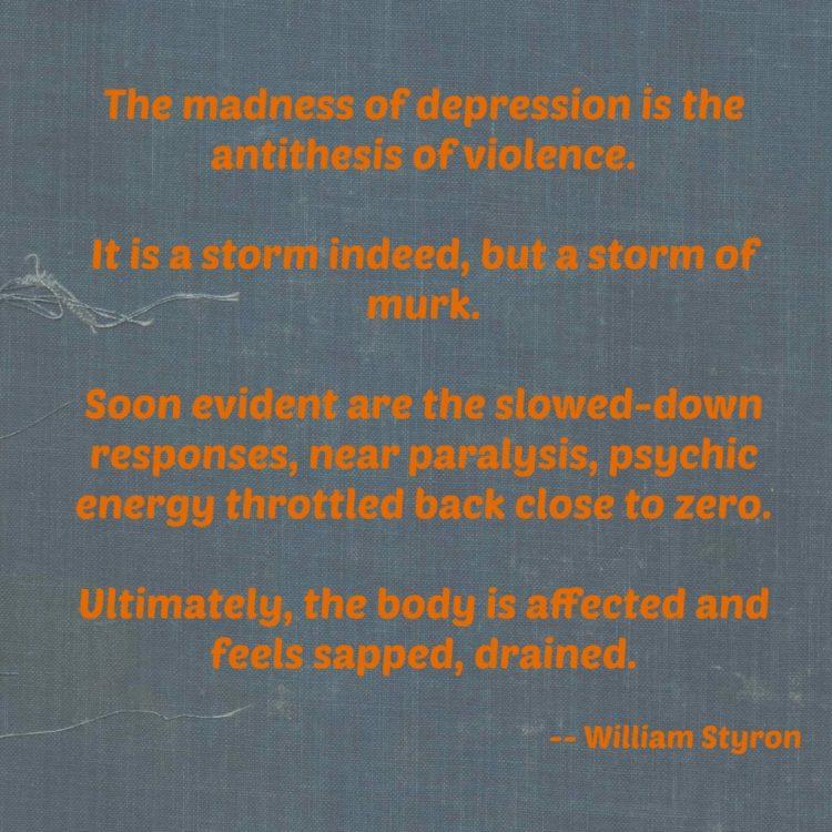 depression, quote, depression quote, william styron, madness, hopelessness,