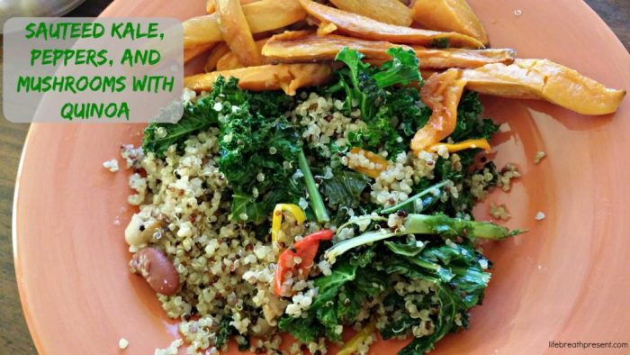 sauteed, kale, peppers, mushrooms, quinoa, baked sweet potato fries, dinner, meal, food, recipe, cooking, vegetables, meals