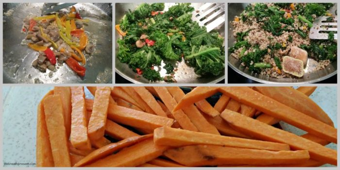 sautee, kale, mushrooms, quinoa, peppers, baked sweet potato fries, food, vegetables, meals, dinner, cooking, recipe