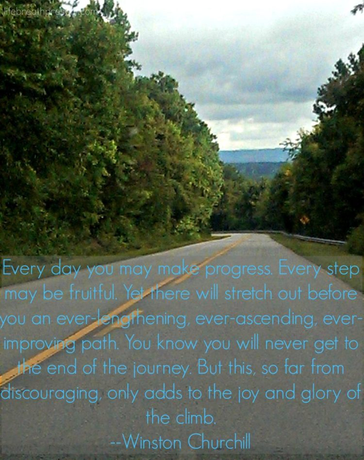 journey, quote, winston churchill, mountains, ridge, driving, travel, trees, road