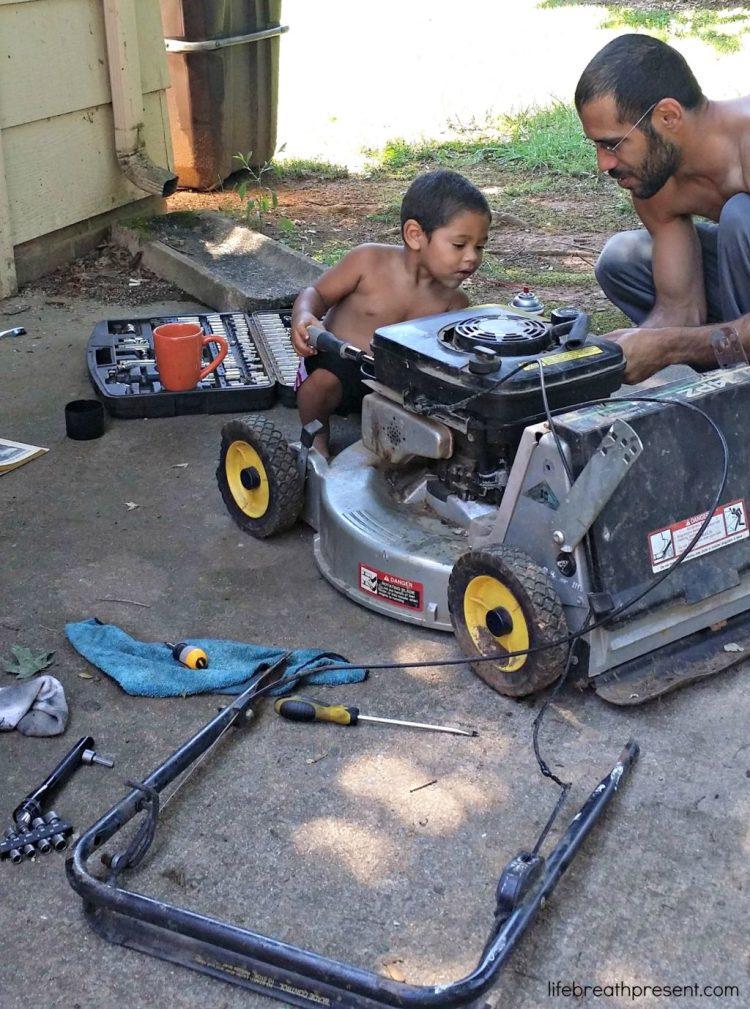 repair, lawnmower, fix, fixing, toddler