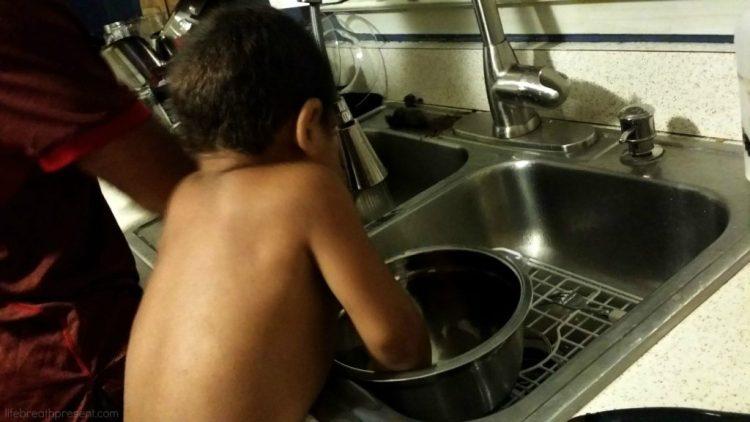 life skills, toddlers, washing dishes, learning