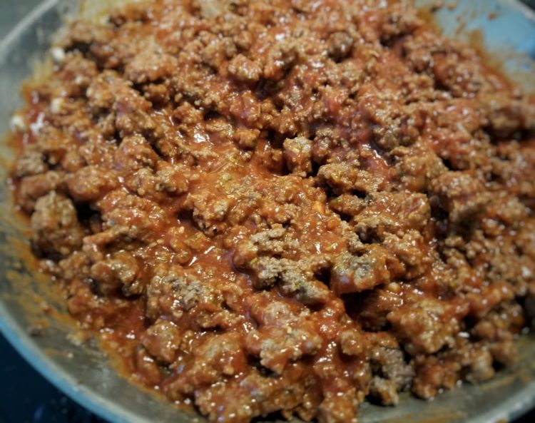 ground beef, meat, food, recipe, red sauce, pasta, homemade