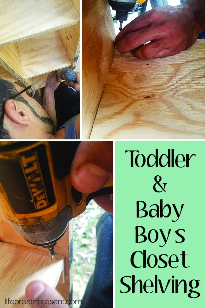 house, home, closet, reveal, diy, remodel, update, children, boys, room, shelves, sheving, drill, screw, dewalt