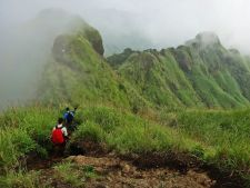 Into the mountain.