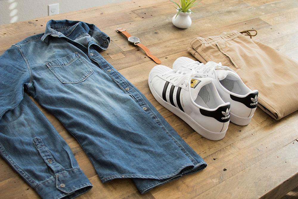 Denim Shirt - Joggers - Adidas All Stars