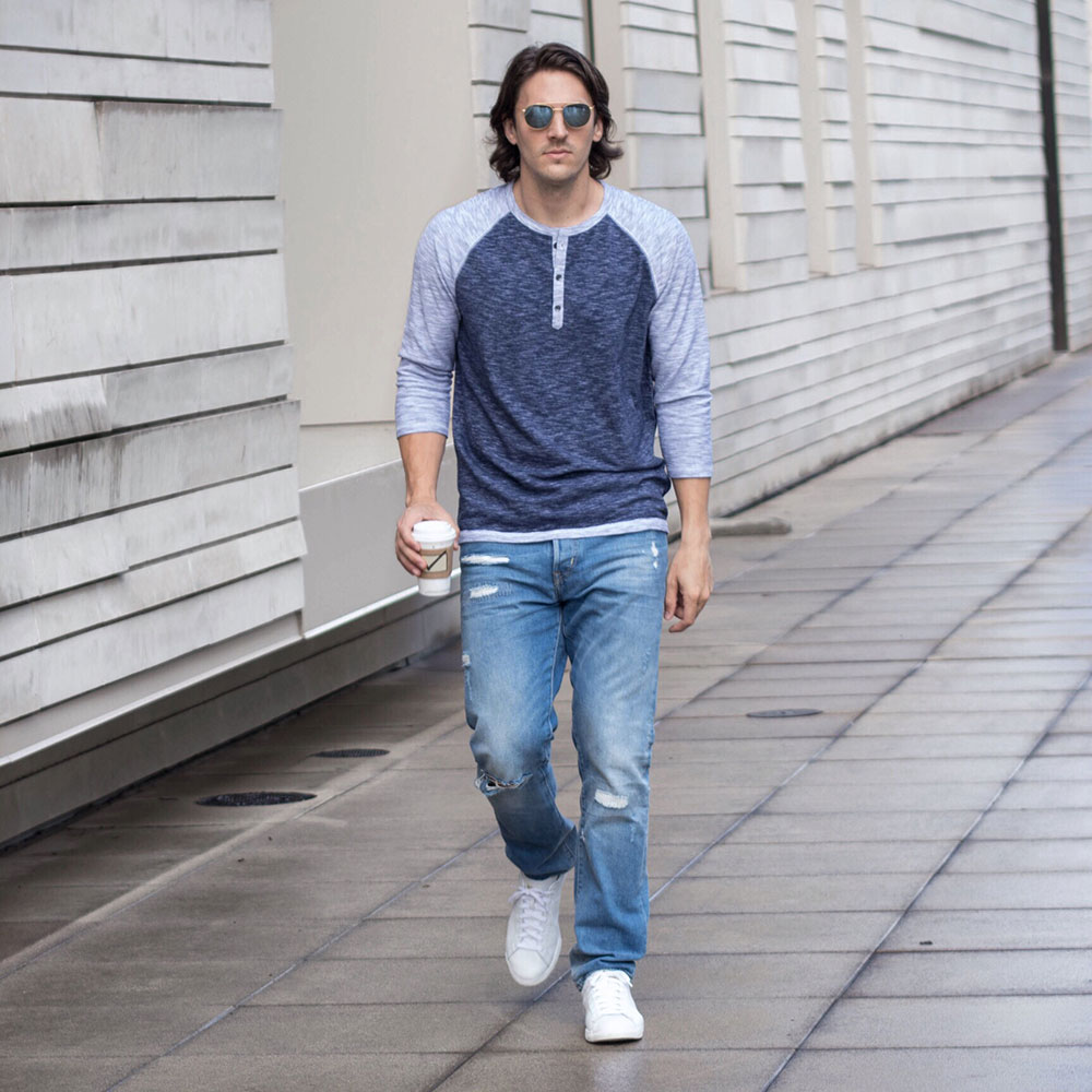@Dylanbenjam Instagram Male Fashion Blue Baseball Henley and Distressed Denim