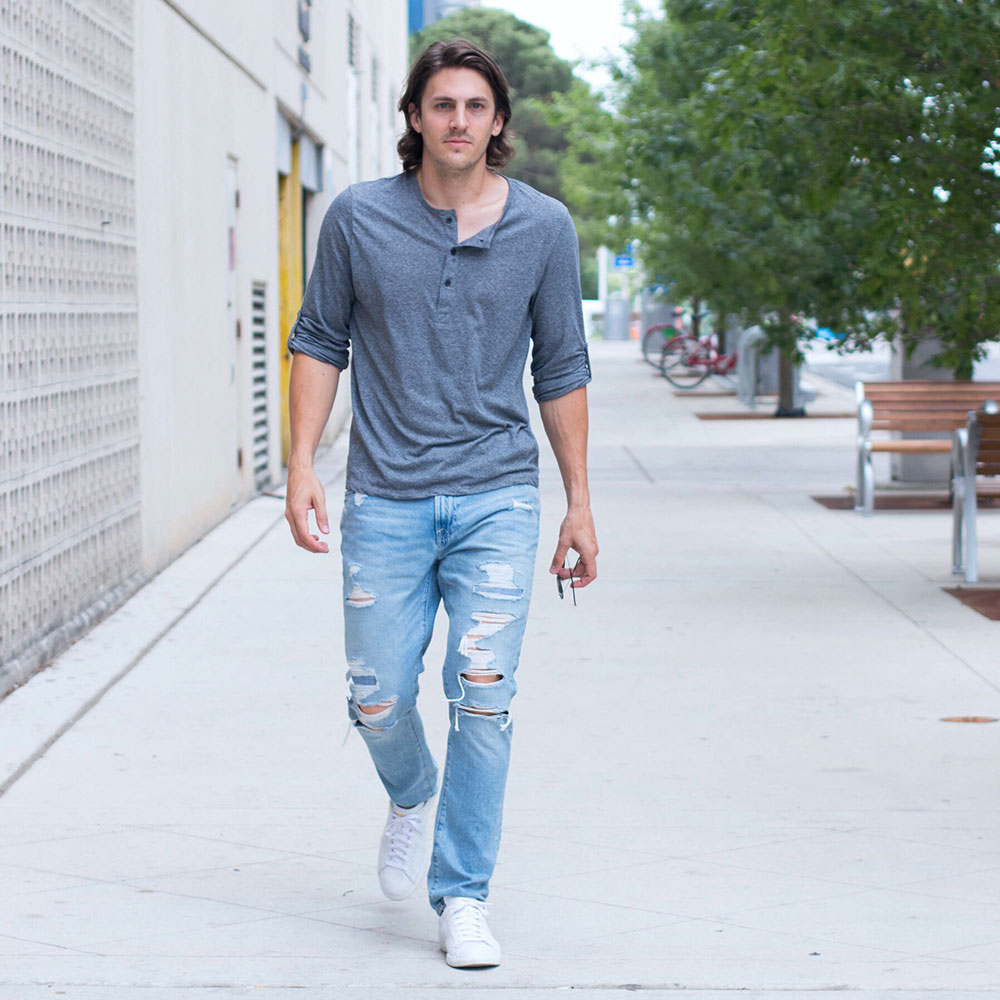 @Dylanbenjam Instagram Male Fashion Grey Henley Shirt and Distressed Ripped Jeans