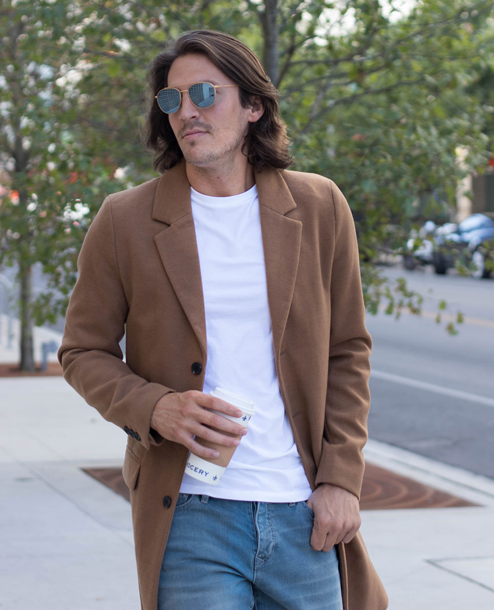 Mens Camel Overcoat with Jeans and Brown Shoes