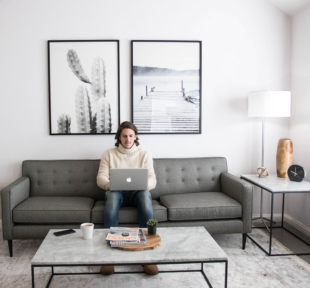 Working at Modern Sofa with Marble Table