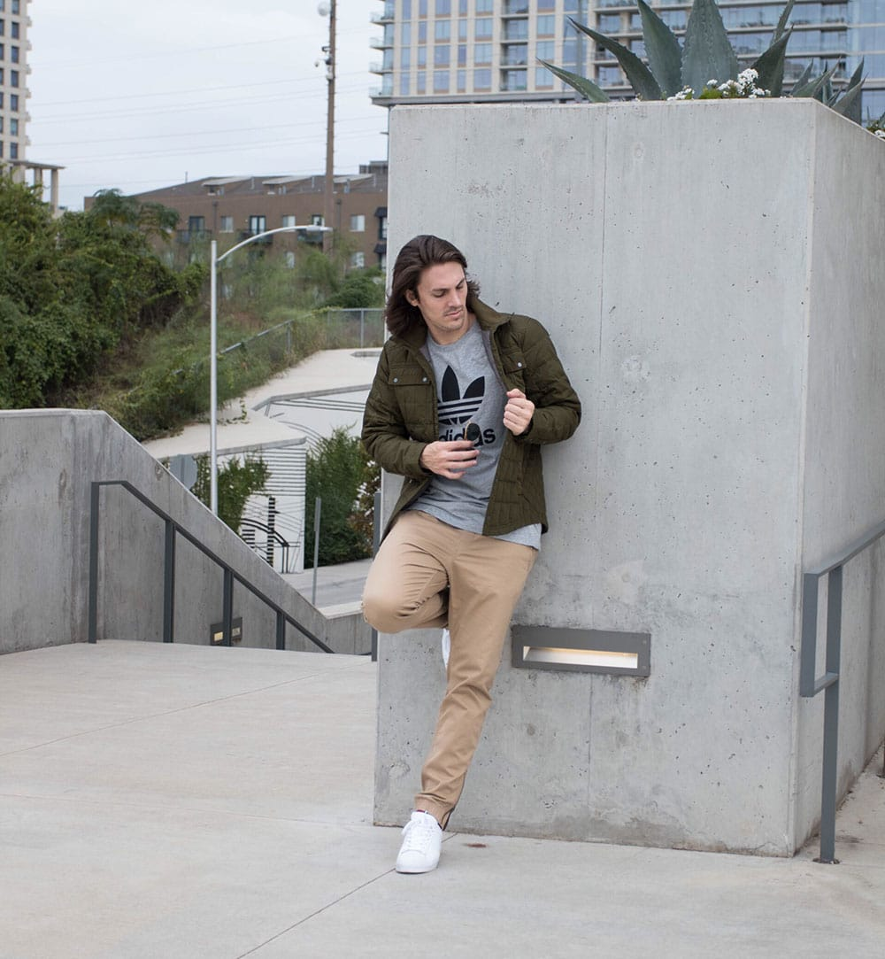 Green Jacket - Adidas Shirt - Joggers and White Sneakers