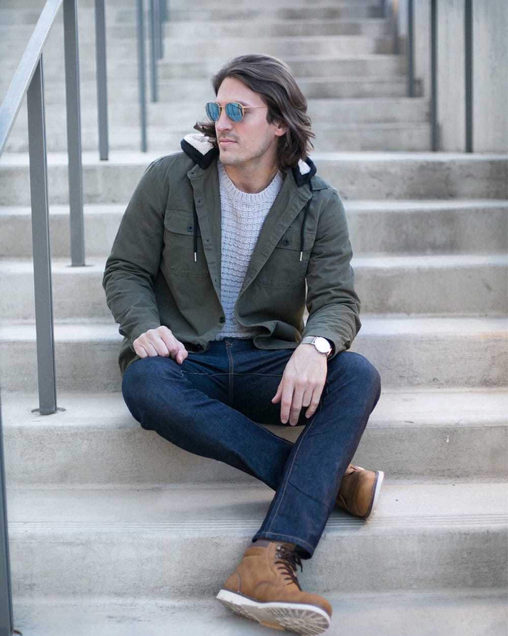 Green Coat with Grey SHirt, Jeans and Brown Boots