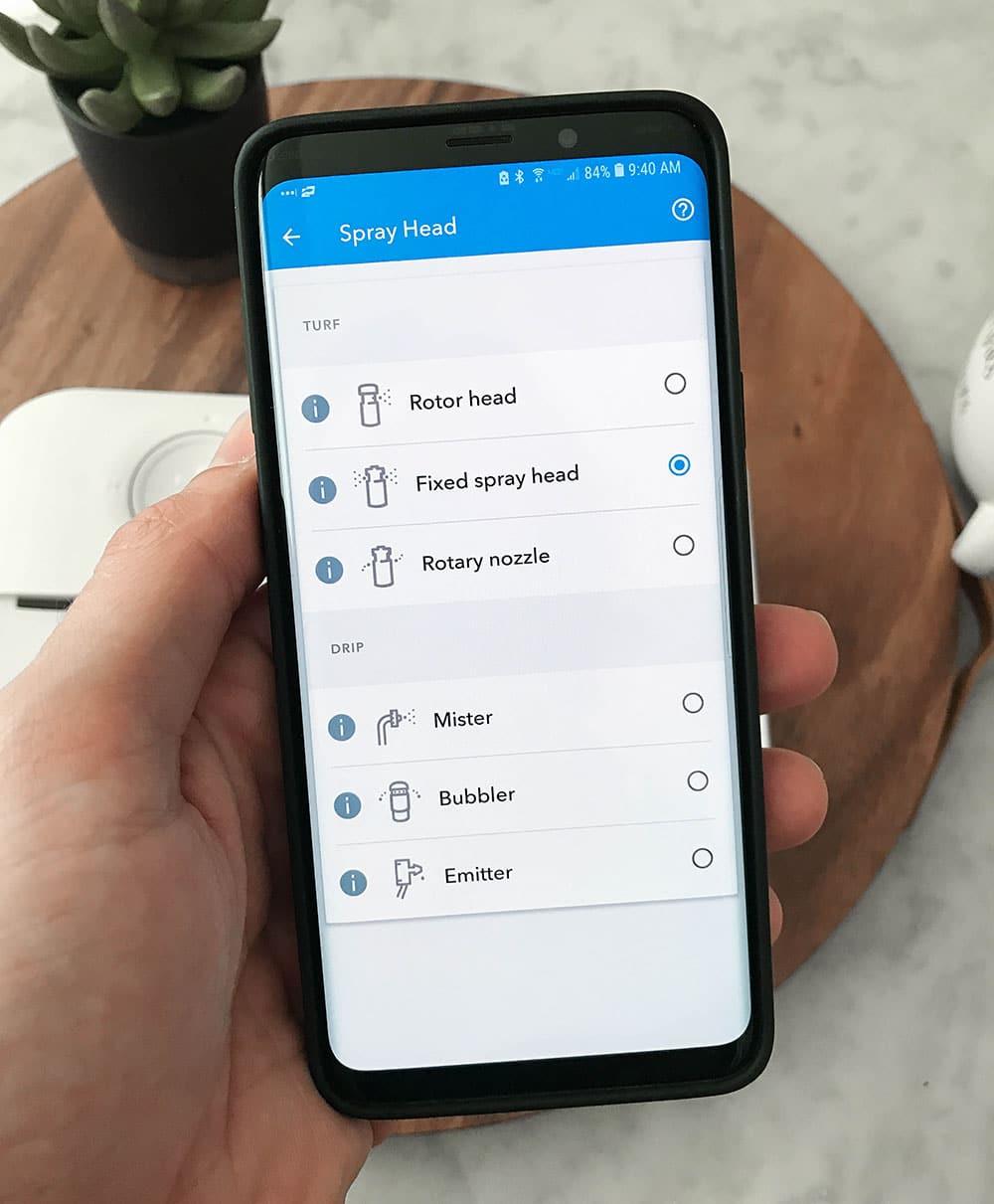 Rachio 3 App Select Sprinkler