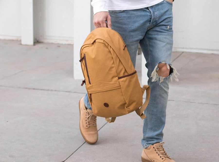 Walking with Timerberland Bag & Shoes