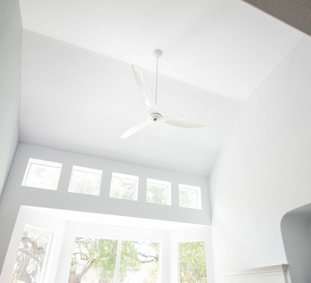"""Haiku 84"""" White Aluminum Fan on 19 ft ceiling"""