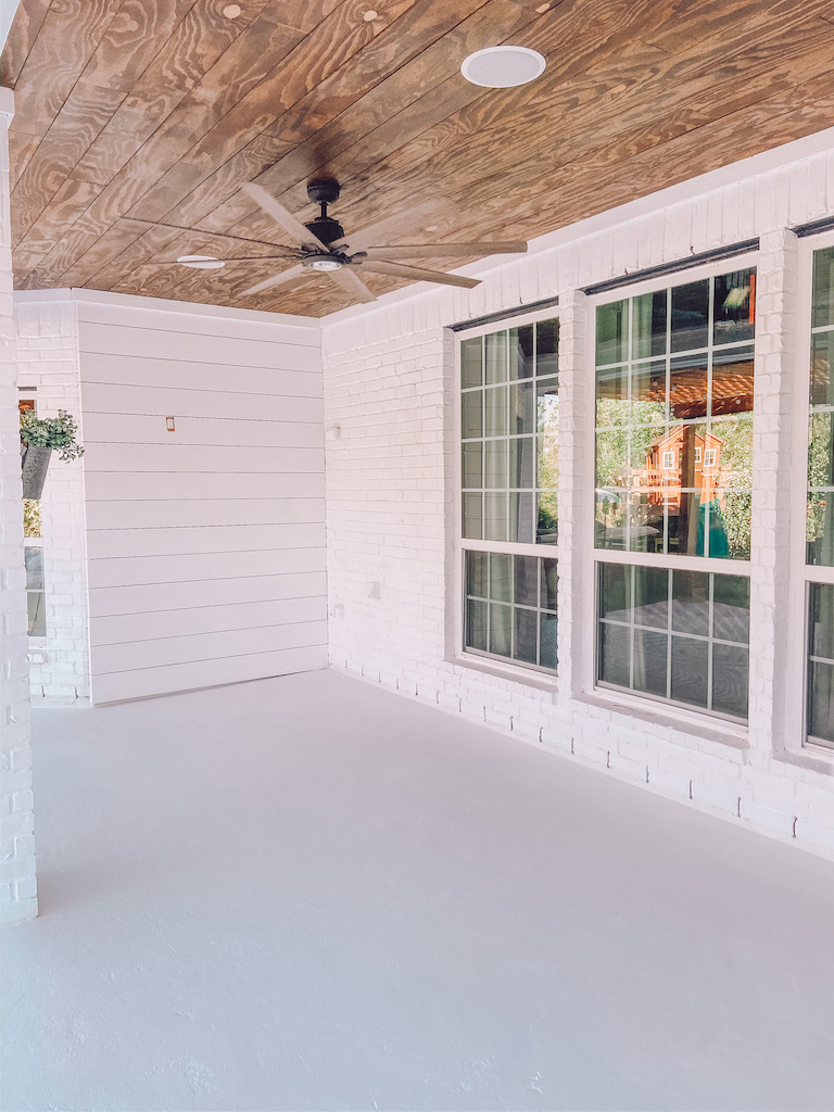 diy planked ceiling outdoor patio