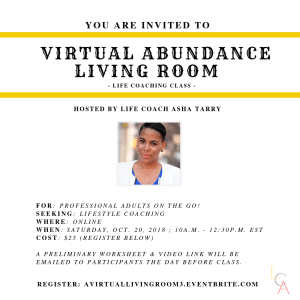 Life Coach Asha - Virtual Abundance Living Room Oct. 20. 2018