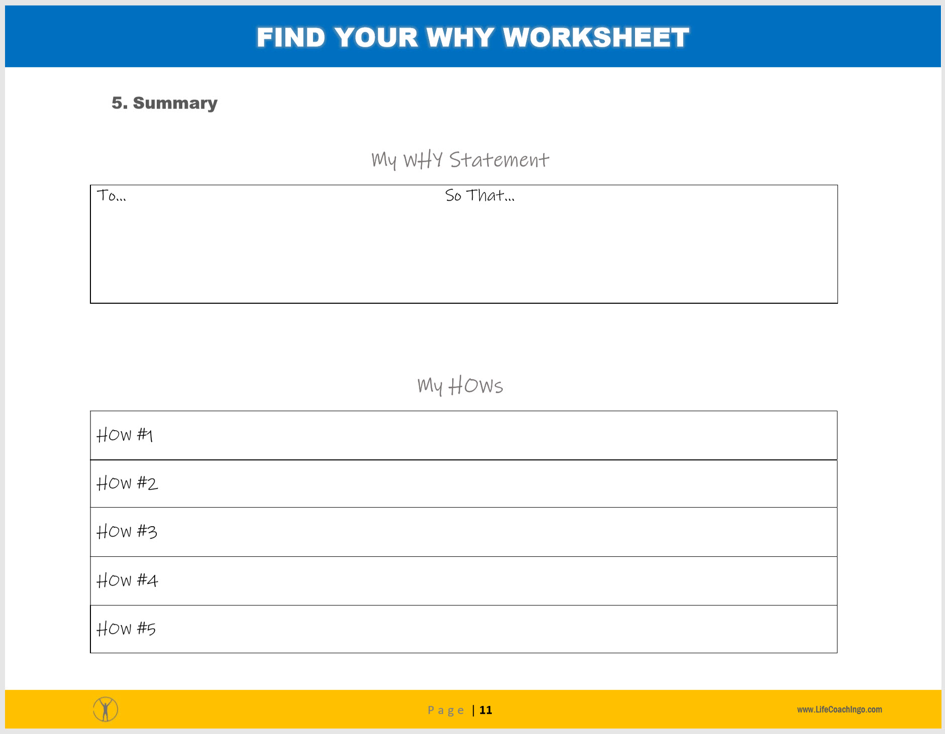 Finding Your Why Worksheet